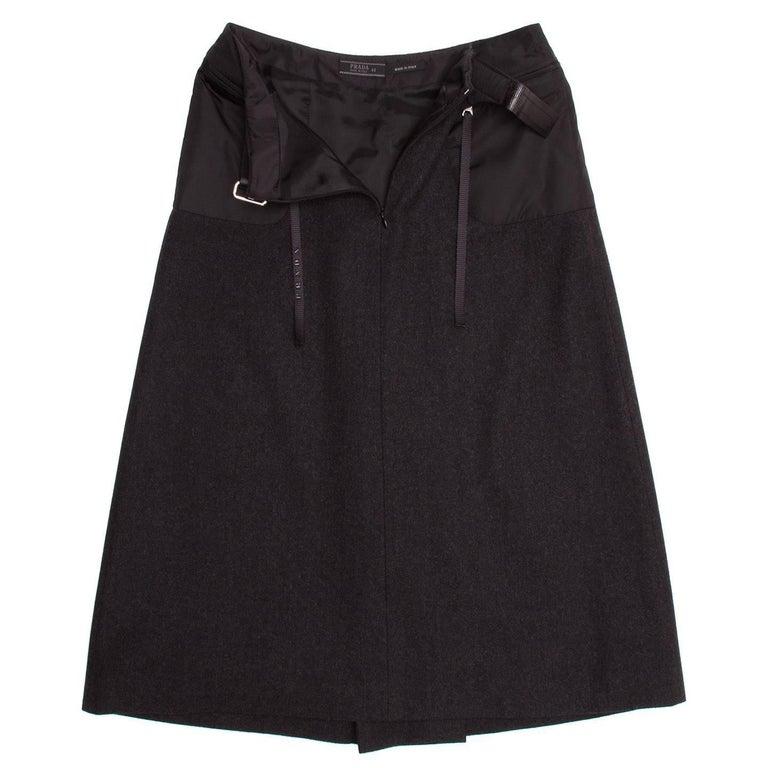 Prada Charcoal Grey Wool Pleated Skirt 4