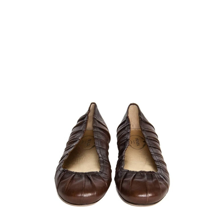 Prada Brown Leather Ballet Shoes 3