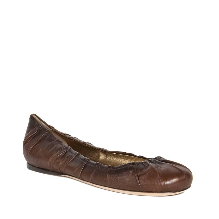 Prada Brown Leather Ballet Shoes 2
