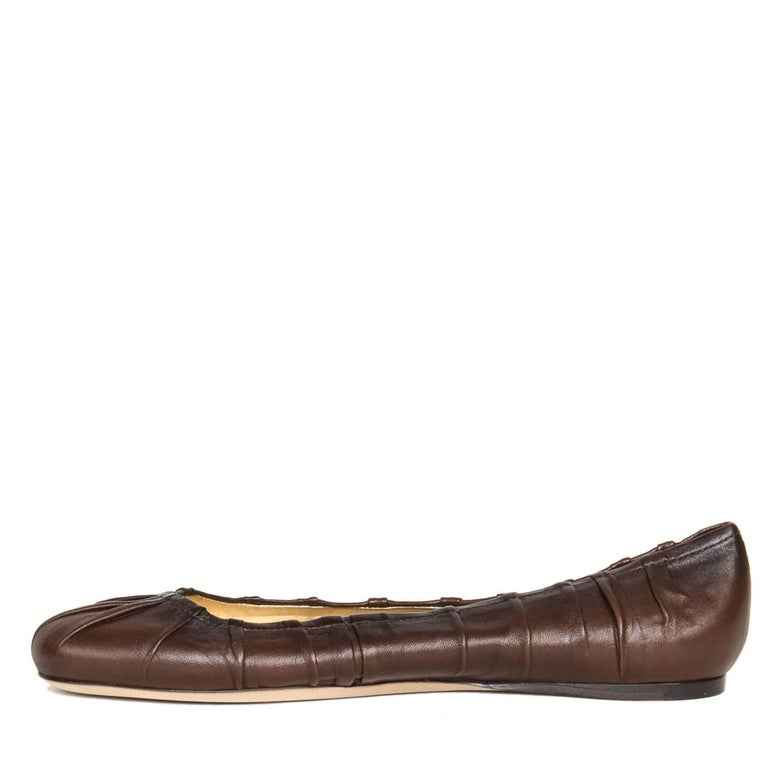 Prada Brown Leather Ballet Shoes 4