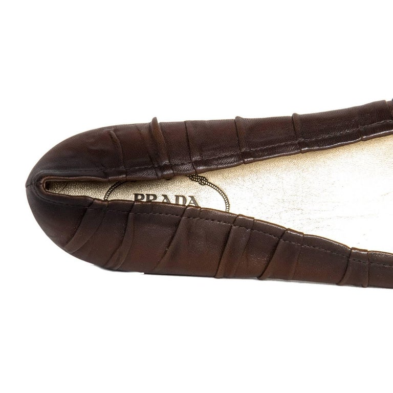 Prada Brown Leather Ballet Shoes 5