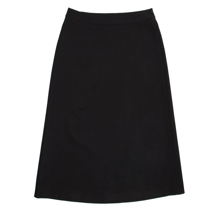 Prada Black Wool A-Line Skirt 2