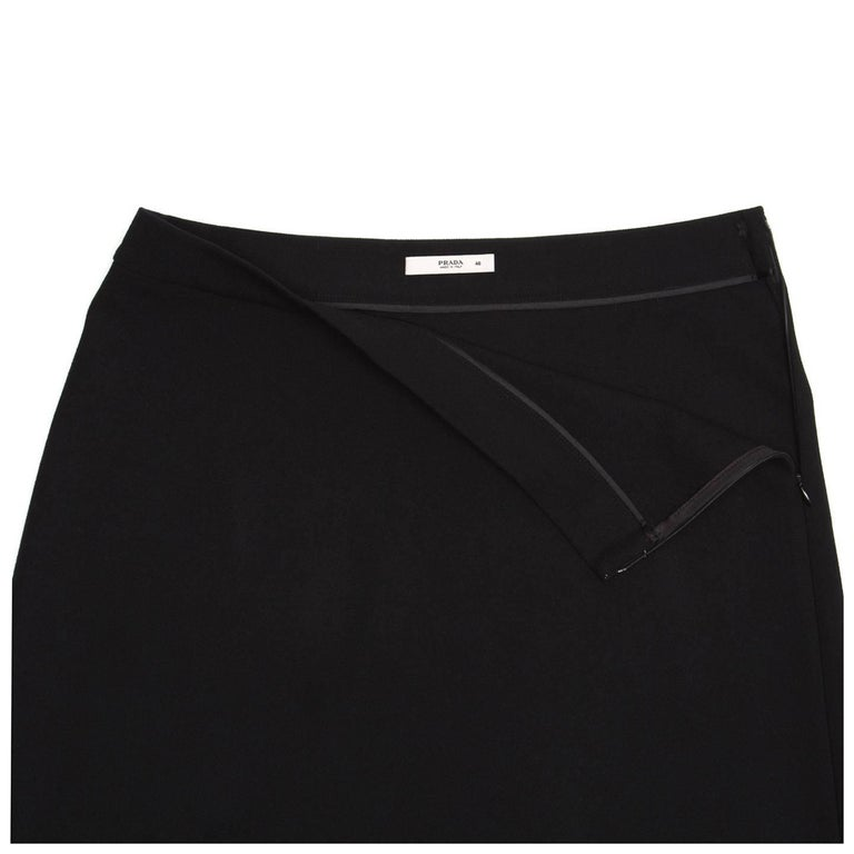 Prada Black Wool A-Line Skirt 4