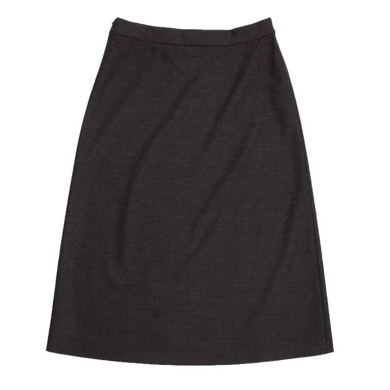 Black Prada Charcoal Grey A-Line Skirt For Sale