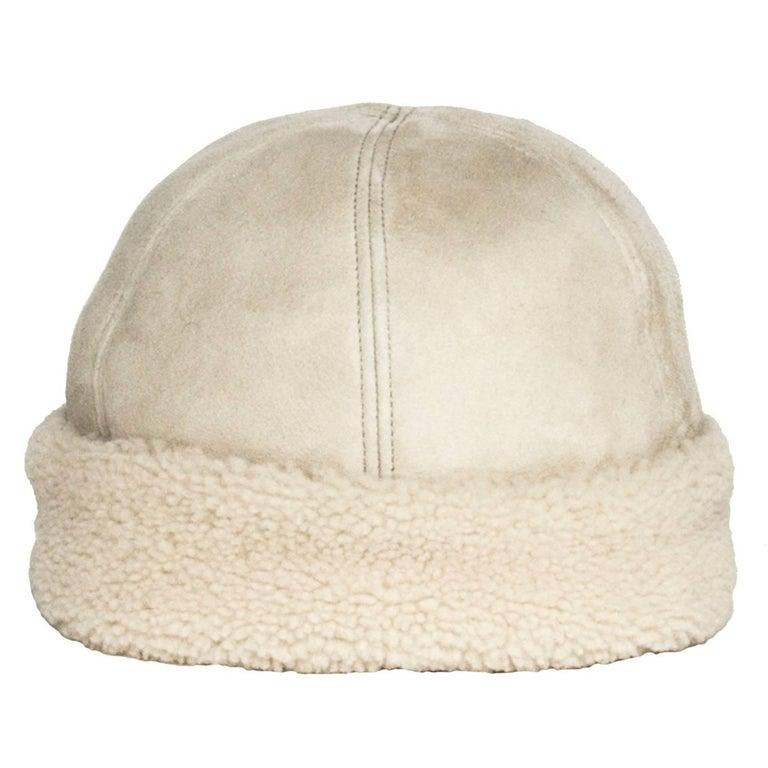 Prada Ivory Suede & Shearling Cap 2