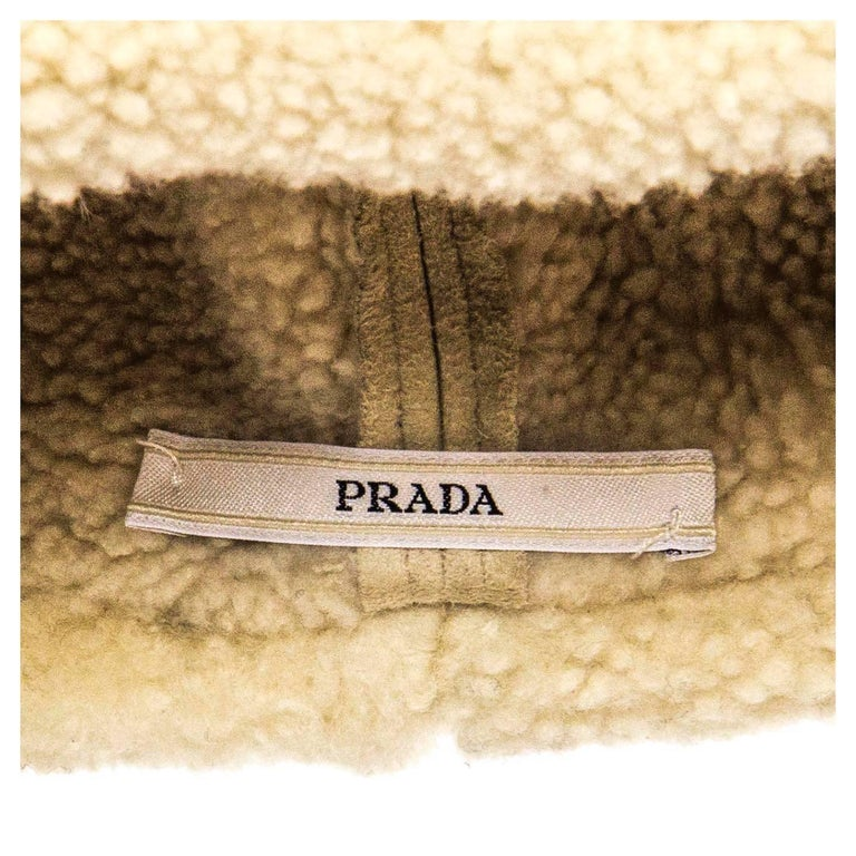 Women's Prada Ivory Suede & Shearling Cap For Sale