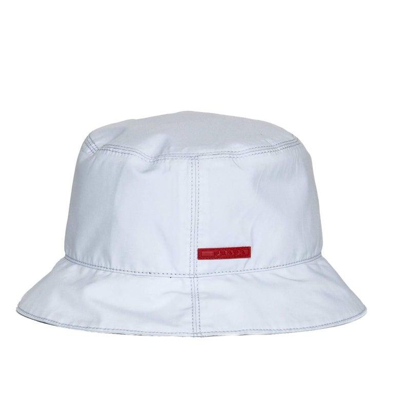 Gray Prada Pale Blue Goretex Bucket Cap For Sale