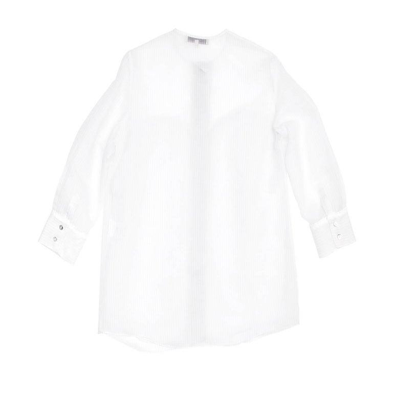 Gray Stella McCartney Ivory & Grey Pin Stripe Shirt For Sale
