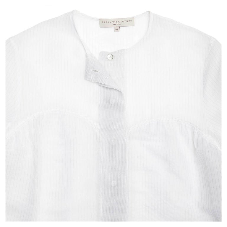 Stella McCartney Ivory & Grey Pin Stripe Shirt In New Condition For Sale In Brooklyn, NY