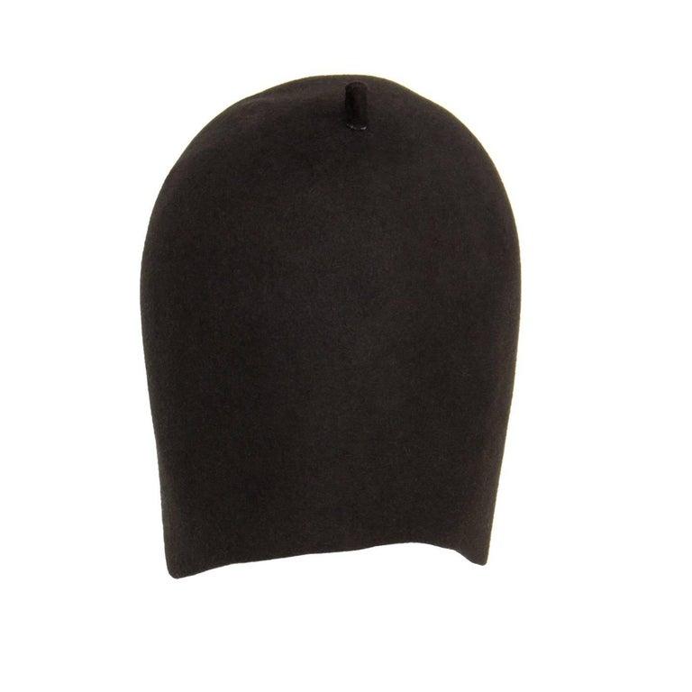 01dea5cd9f4 Prada brown grey 100% rabbit fiber military fitted skull cap. Made in Italy.