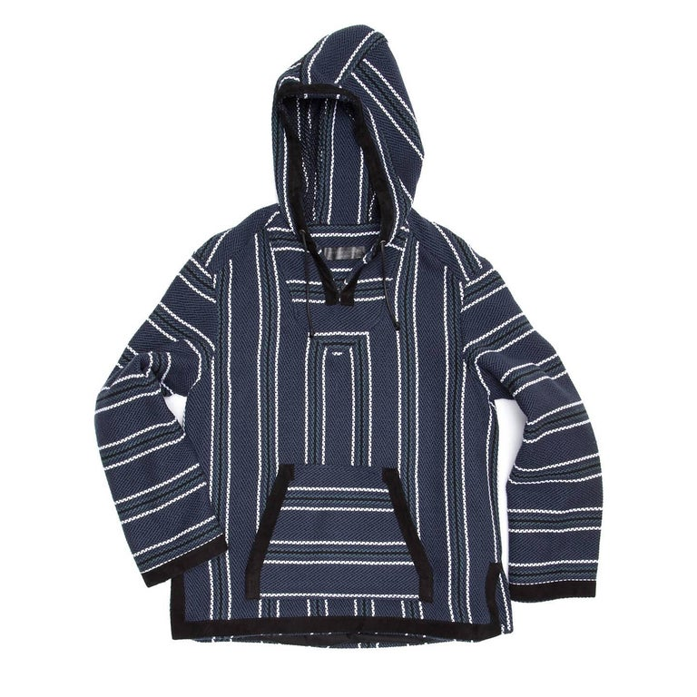 Proenza Schouler navy blue cotton blend boho ethnic style hoodie with petrol blue, black and white stripes. The front has a kangaroo patch pocket. Hem, cuffs, pocket and hood profiles are enriched by a black suede tape; body and sleeves are lined