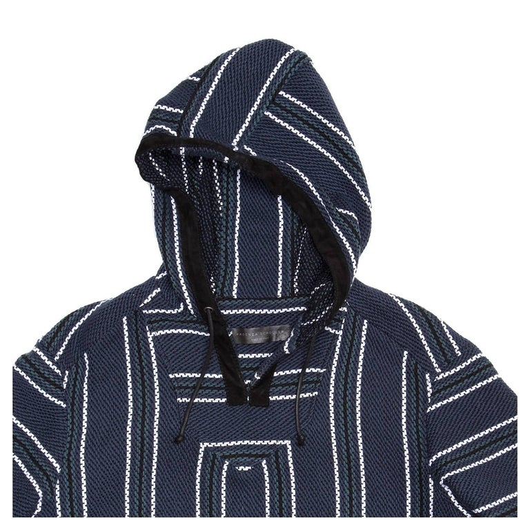 Proenza Schouler Blue Striped Hooded Sweater In New Condition For Sale In Brooklyn, NY