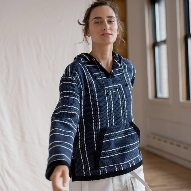 Proenza Schouler Blue Striped Hooded Sweater For Sale 1