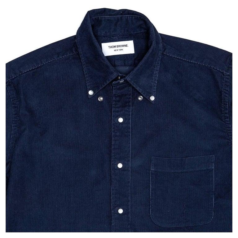 Thom browne denim blue corduroy shirt for man for sale at for Thom browne shirt sale