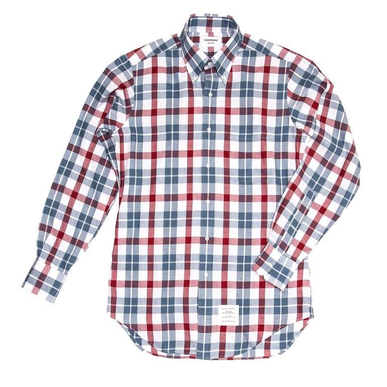 Thom browne blue white red plaid shirt for man for sale at for Red white and blue plaid shirt