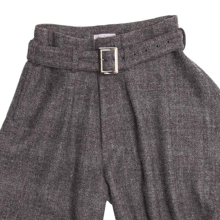 Gray Yohji Yamamoto Grey Wool Wide Legged Pants For Sale