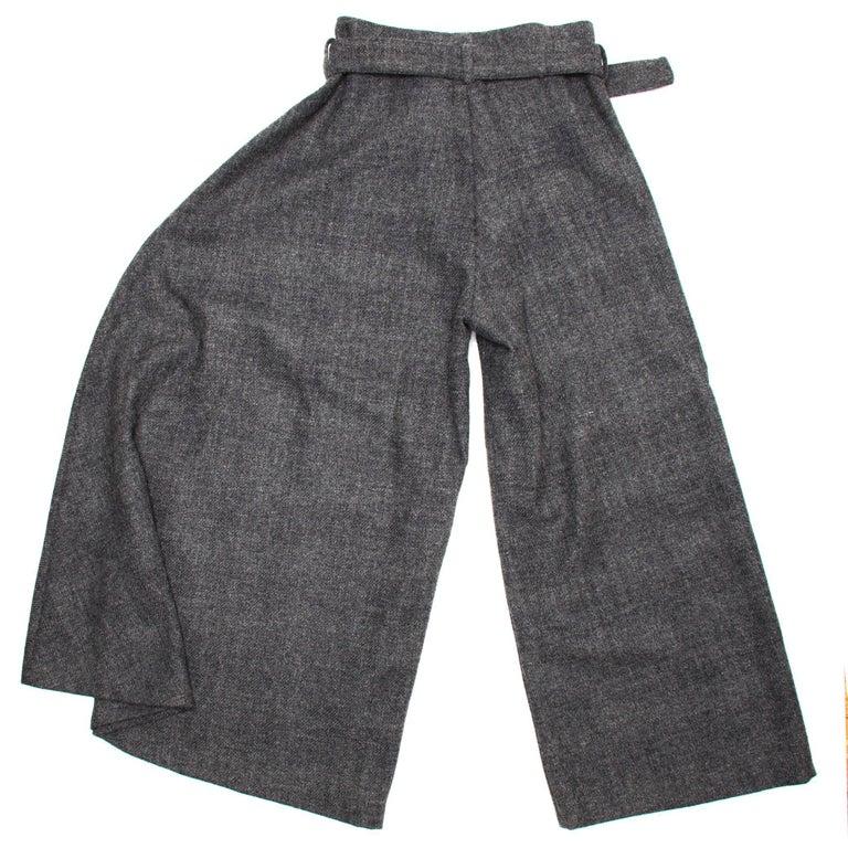 Women's Yohji Yamamoto Grey Wool Wide Legged Pants For Sale