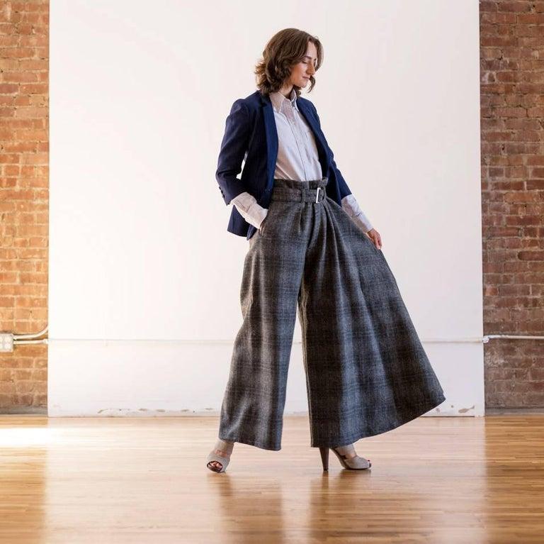 Yohji Yamamoto Grey Wool Wide Legged Pants For Sale 1