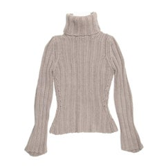 Yves Saint Laurent Grey Cashmere Turtleneck Sweater