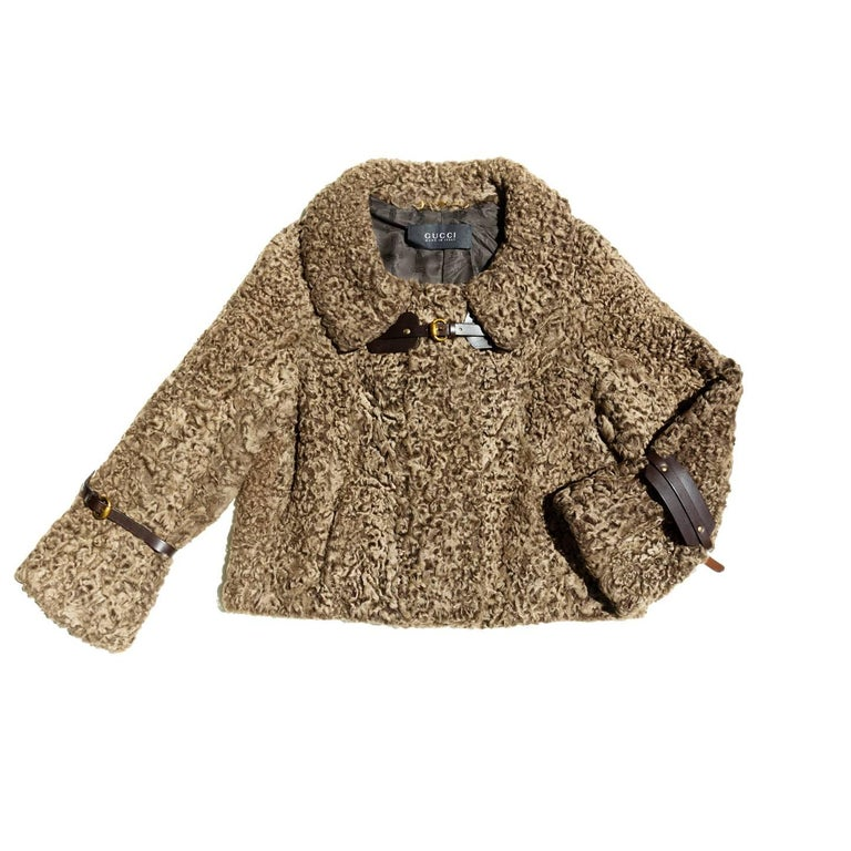 Gucci Cropped Brown Persian Lamb Jacket For Sale 2