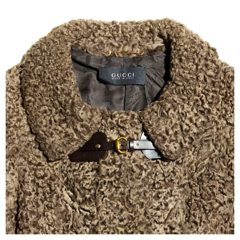 Women's Gucci Cropped Brown Persian Lamb Jacket For Sale