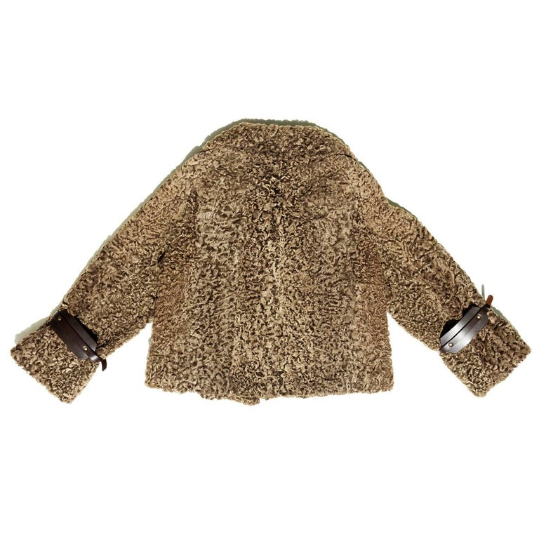 Gucci Cropped Brown Persian Lamb Jacket In Excellent Condition For Sale In Brooklyn, NY
