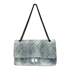 Chanel Jumbo Python Double Flap Bag With Strap
