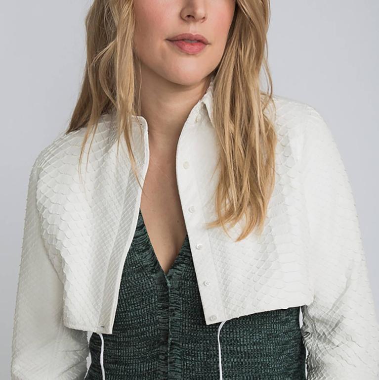 Alaia White Python Bolero Jacket 5