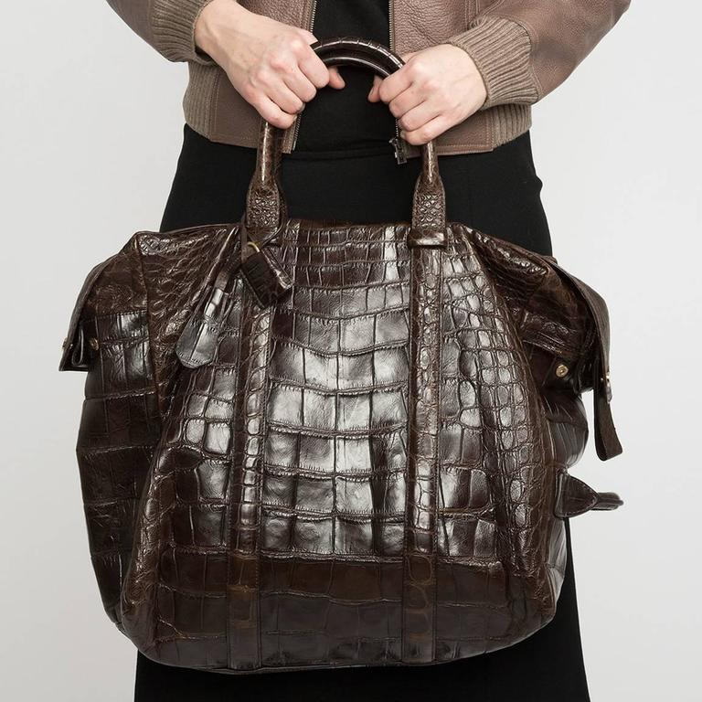 Tom Ford Chocolate Brown Crocodile Oversized Bag For Sale 1