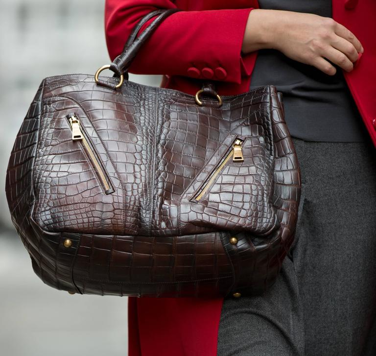 Prada Burgundy Crocodile Oversized Bag For Sale 1