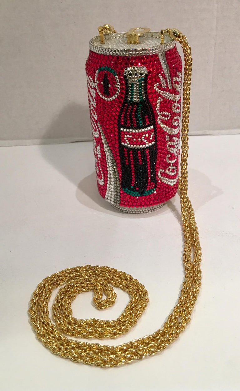 A limited-edition, signed and numbered, Swarovski crystal encrusted, gold-plated metal Coca-Cola can minaudière evening bag purse by Kathrine Baumann, who is the celebrated handbag maker to the stars. This limited edition, estate evening bag is