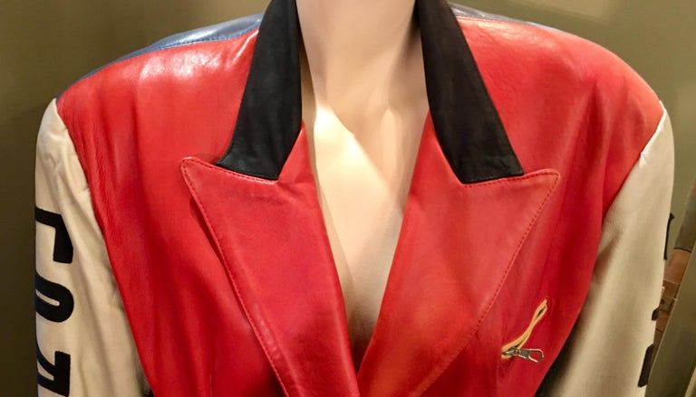 """Red Vintage Jean Paul Gaultier Leather Coat """"Russian Constructivist"""" Collection 1986 For Sale"""