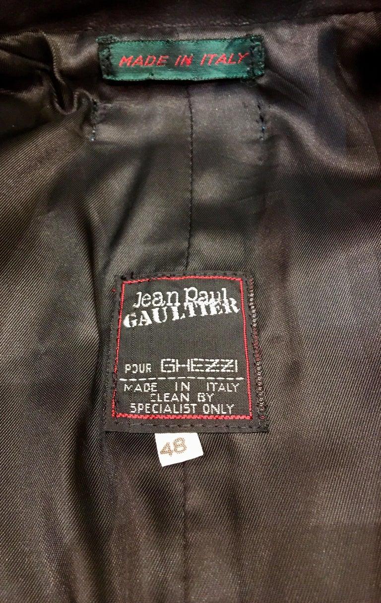 "Vintage Jean Paul Gaultier Leather Coat ""Russian Constructivist"" Collection 1986 For Sale 5"