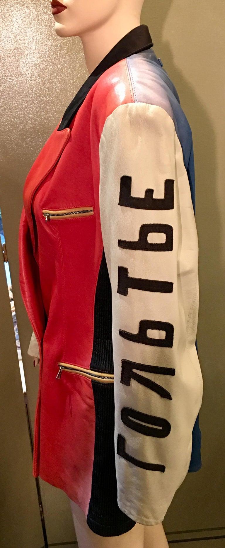 "Vintage Jean Paul Gaultier Leather Coat ""Russian Constructivist"" Collection 1986 For Sale 1"