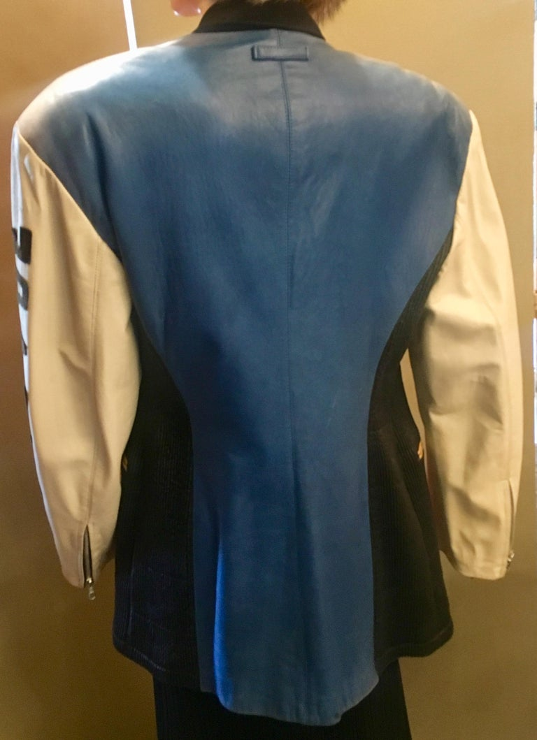 """Vintage Jean Paul Gaultier Leather Coat """"Russian Constructivist"""" Collection 1986 In Good Condition For Sale In Tustin, CA"""