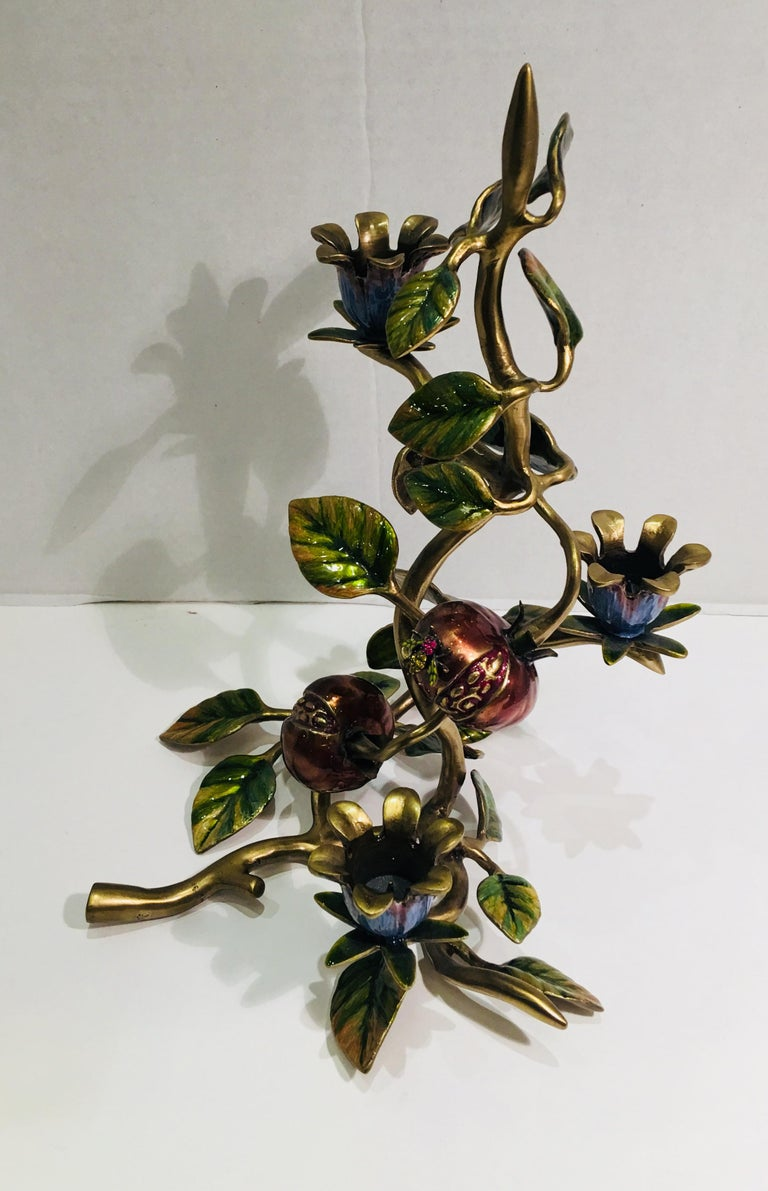 Black Elegant Jay Strongwater Polychrome Enamel Candelabra with Pomegranate and Flora For Sale