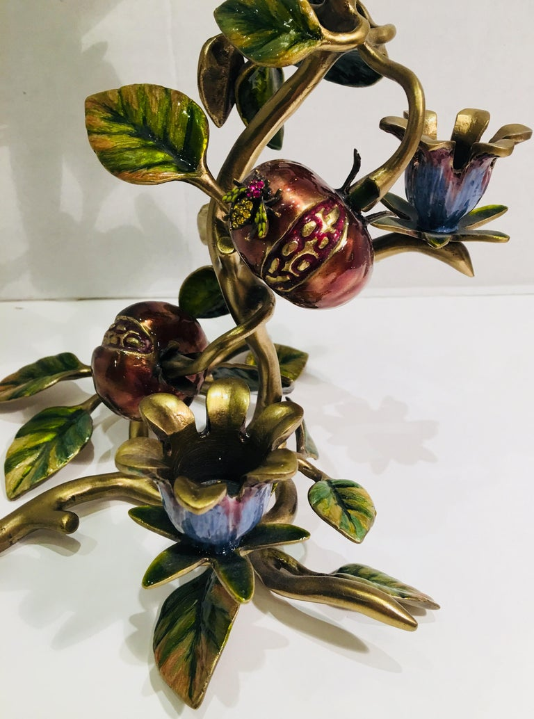 Elegant Jay Strongwater Polychrome Enamel Candelabra with Pomegranate and Flora In Excellent Condition For Sale In Tustin, CA