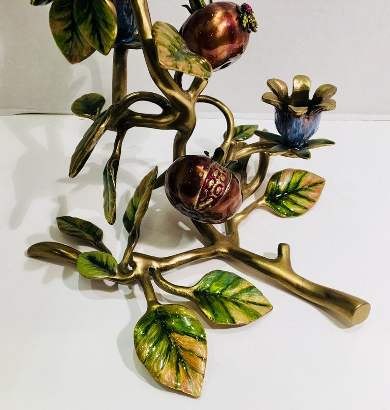 Elegant Jay Strongwater Polychrome Enamel Candelabra with Pomegranate and Flora For Sale 1