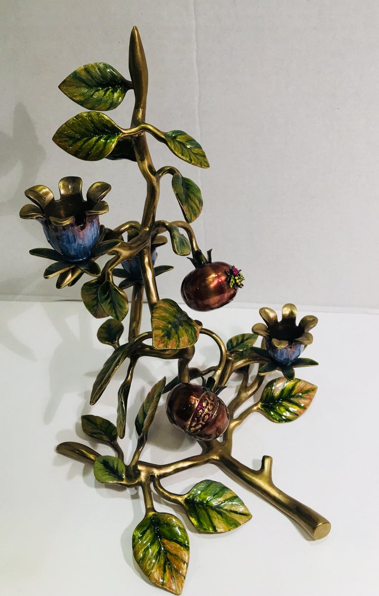 Elegant Jay Strongwater Polychrome Enamel Candelabra with Pomegranate and Flora For Sale 2