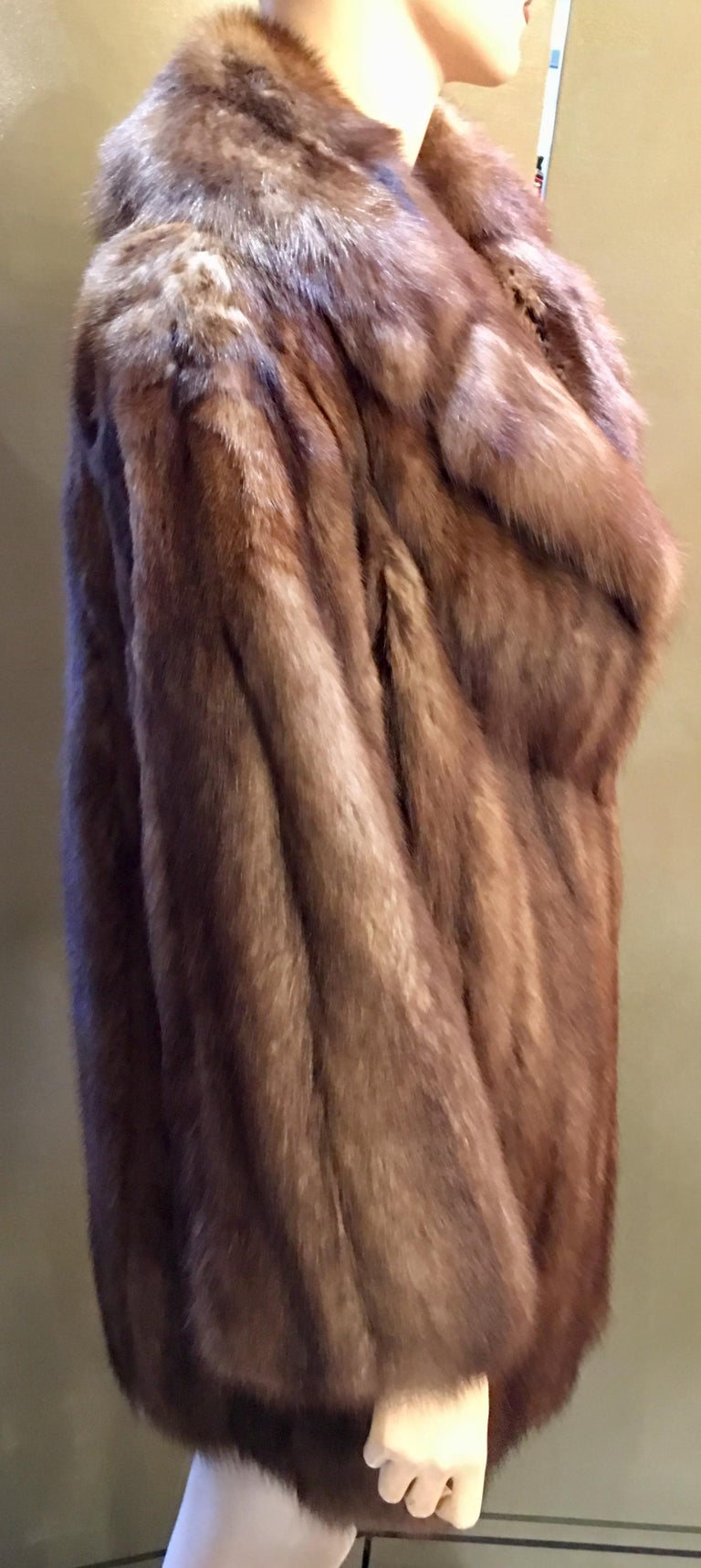 Supreme Opulent Russian Sable Fur Stroller Length Coat  In Excellent Condition For Sale In Tustin, CA