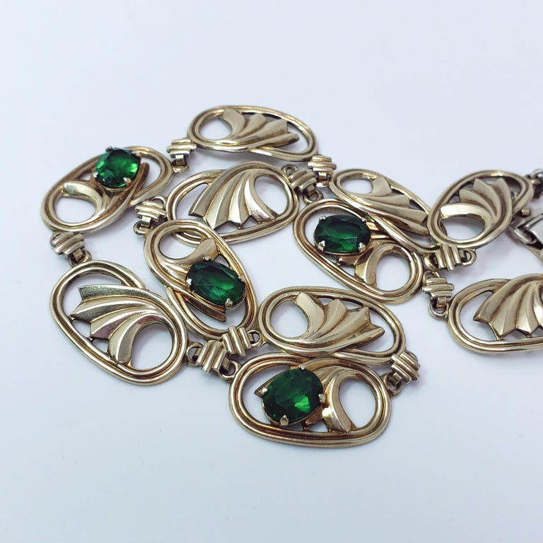 Vintage 14k Gold And Silver Green Crystal Symmetalic