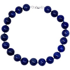 Vintage Lapis Lazuli 18mm Round Bead Sterling & Silver Clasp Choker Necklace