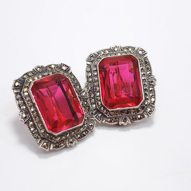 Victorian Ruby Colored Crystal Marcasite Clip On Earrings In Sterling Silver Good Condition