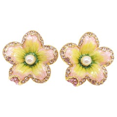 """Jay Strongwater """"Spring Blossom"""" Enamel Crystal & Simulated Pearl Clip Earrings"""