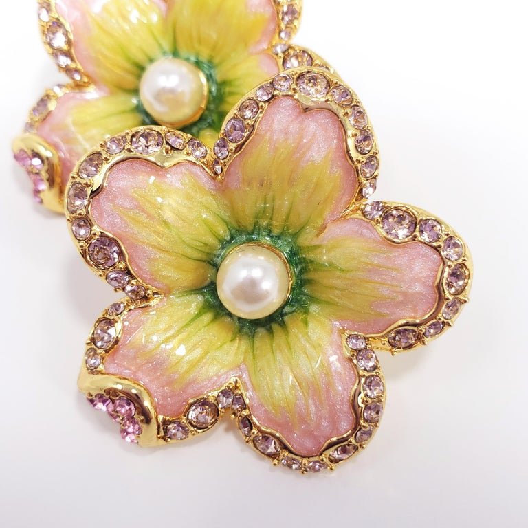 """Jay Strongwater """"Spring Blossom"""" Enamel Crystal And"""