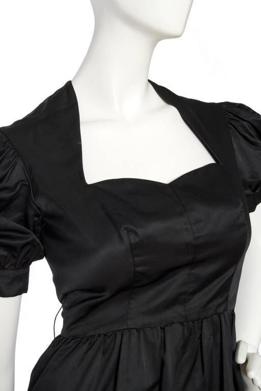 70s Oscar de la Renta Silk Satin Cocktail Dress For Sale 3
