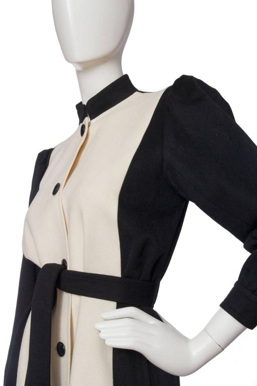 1980s Yves Saint Laurent Black & White Wool Coat 7