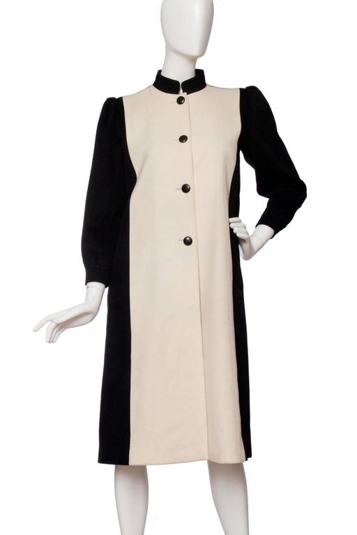 1980s Yves Saint Laurent Black & White Wool Coat 4