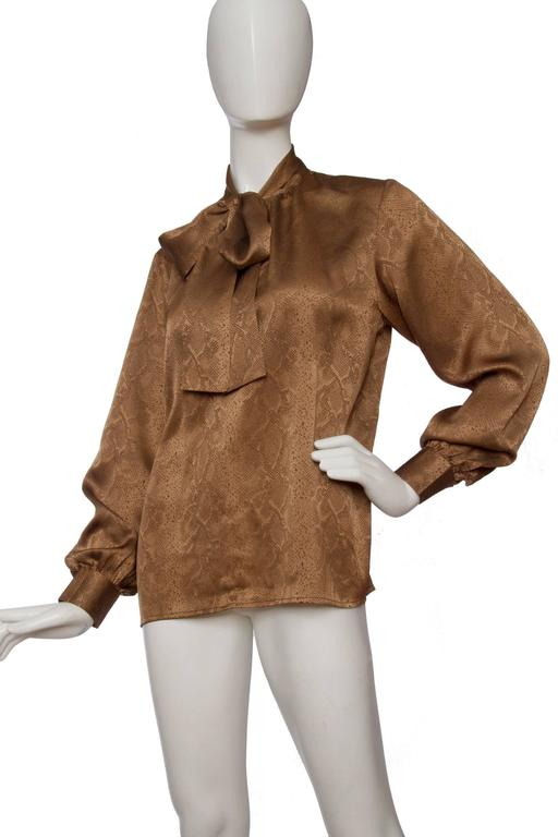 Brown 1980s Yves Saint Laurent Python Printed Silk Blouse  For Sale