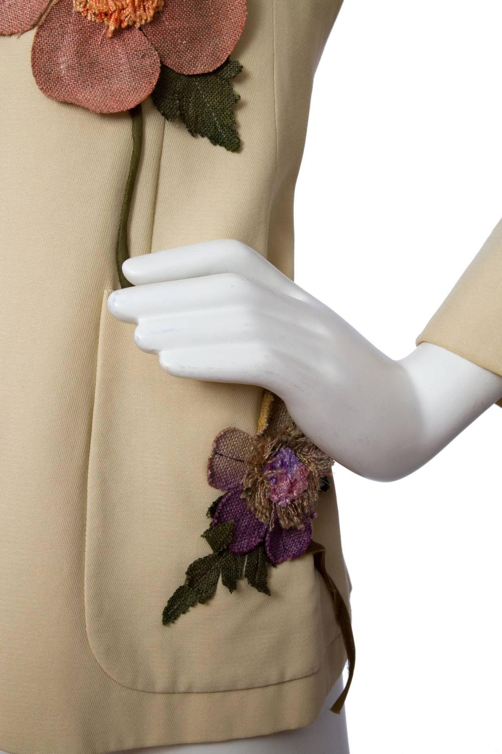90s Moschino Blazer W. Flower Appliqué For Sale at 1stdibs